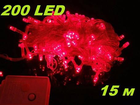 Новогодняя гирлянда нить Xmas 200 LED ламп красного свечения (прозрачный провод, 15 метров), фото 2
