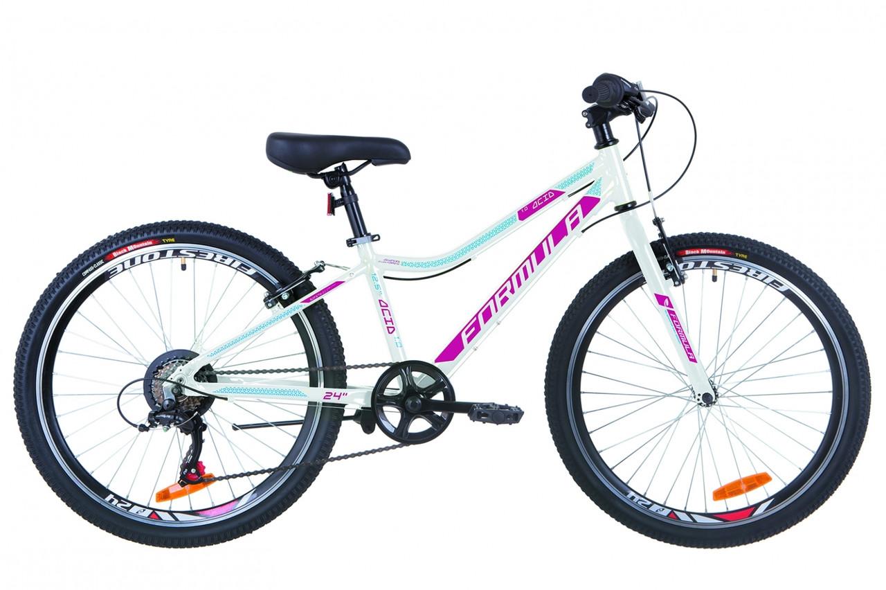 """Велосипед підлітковий, гірський Formula Acid 24"""" 1.0 Rigid VBR 2019 біло-малиновий з блакитним"""