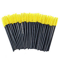 Щеточки для расчесывания бровей и ресниц желтые с чёрной ручкой