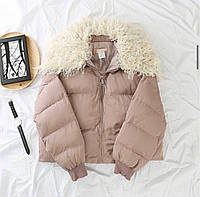 Женская короткая куртка на молнии с меховым воротником 68ki199