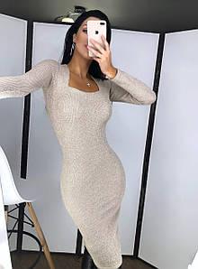 Платье - футляр из мелкой вязки с люрексом и квадратным вырезом 20ty350