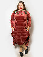 Женское стильное платье с перфорацией. Размер 48-50, 52-54, 56, 58, 60-62 58, кирпичный