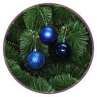 """Набор елочных шаров """"Мидл 3x"""" (60мм, синий, тубус) 12шт"""