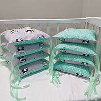 Бортики защита в детскую кроватку для новорожденных панды мятные