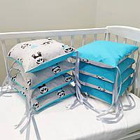 Захист в дитяче ліжечко, бортики  (8 подушок на три сторони) Панди блакитні
