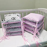 Бортики защита в детскую кроватку для новорожденных панды розовые