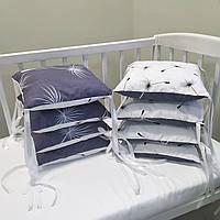 Бортики защита в детскую кроватку для новорожденных одуванчики серо-белые