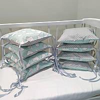 Бортики защита в детскую кроватку для новорожденных коты на мятном