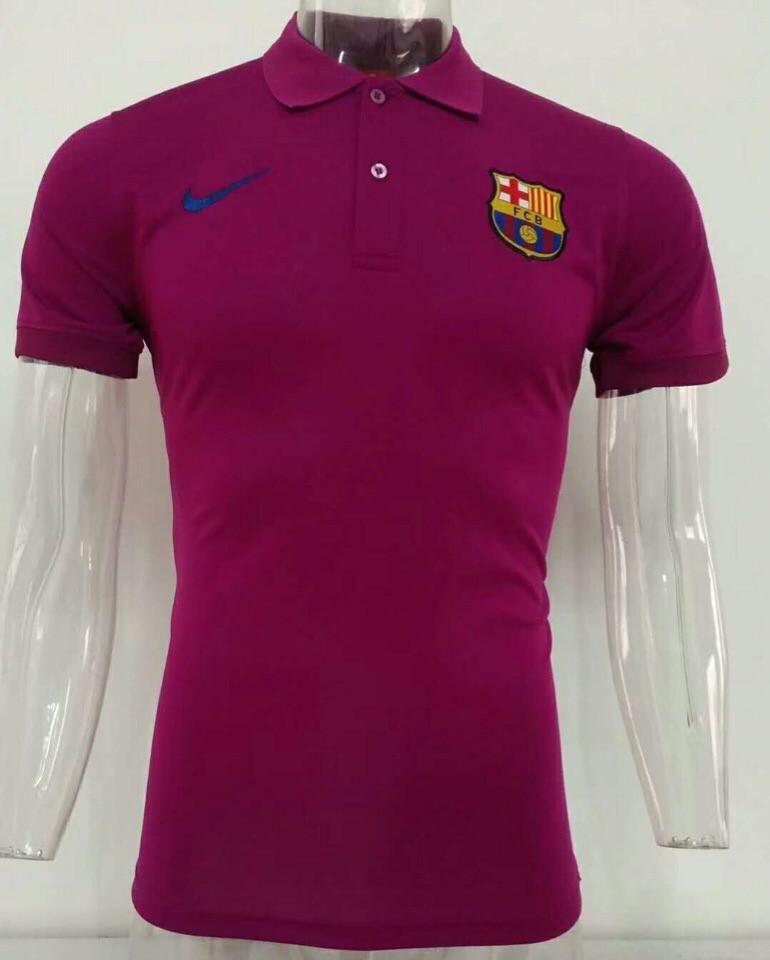 Футболка поло Барселона/Barcelona ( Испания, Примера ), фиолетовая, сезон 2019-2020