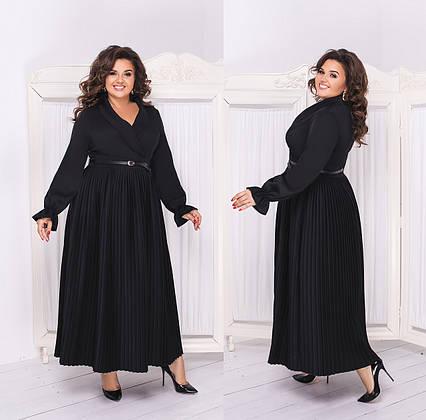 """Нарядное длинное женское платье в больших размерах 689 """"Плиссе Макси Лиф Запах"""" в расцветках"""
