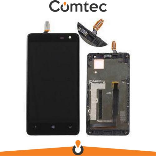 Дисплей для Nokia 625 Lumia (RM-941) с тачскрином (Модуль) черный, с передней панелью (рамкой), оригинал