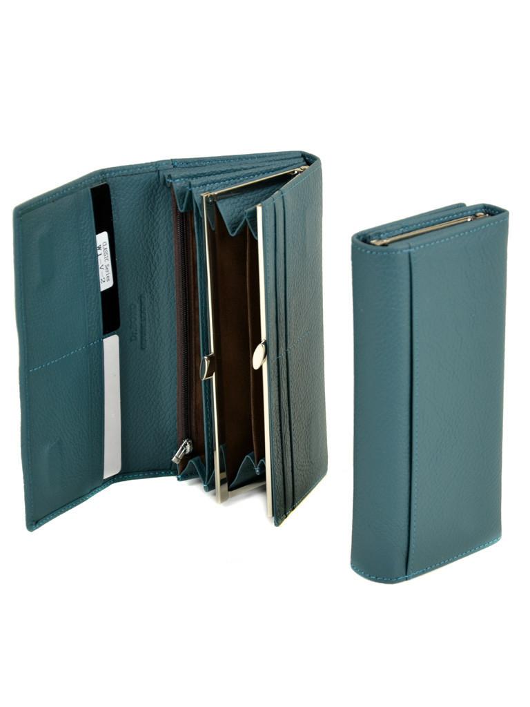 Класичний місткий блакитний гаманець жіночий на магніті шкіра DR. BOND 18,5*9*3,5 (W1-V-2 light-blue)