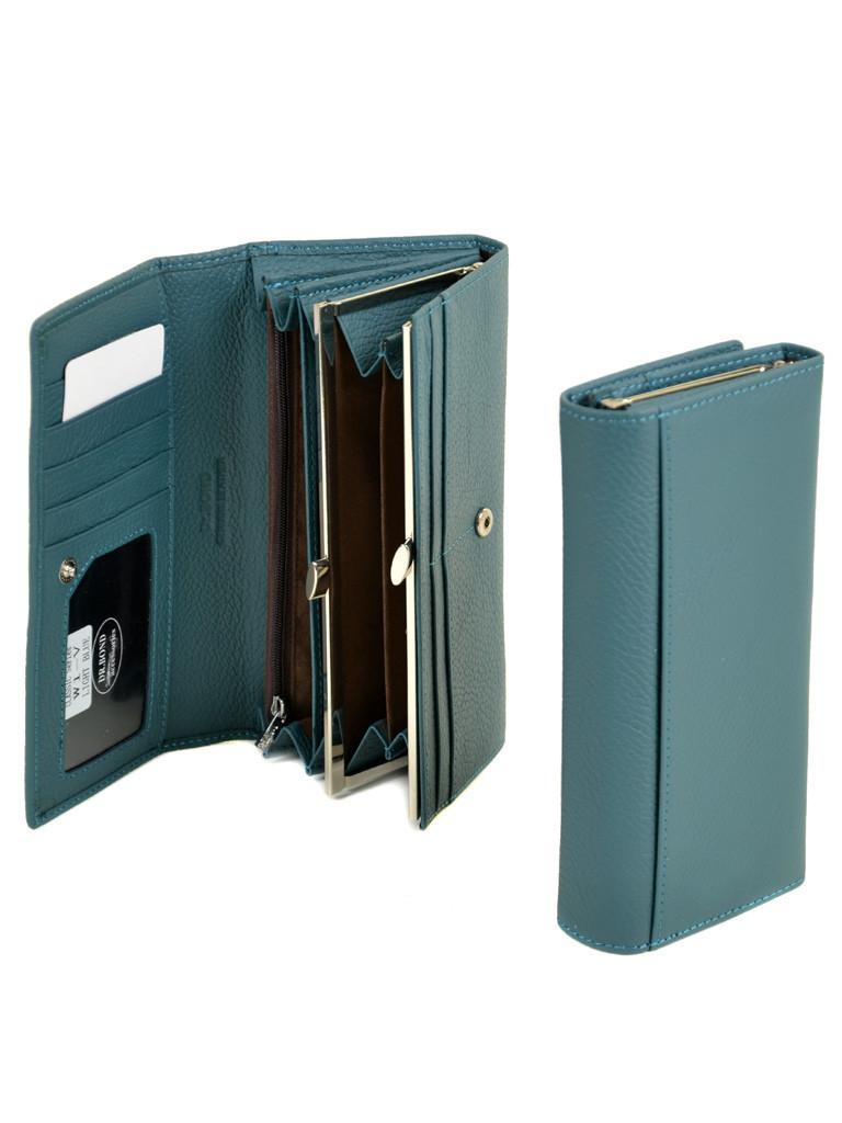 Кожаный удобный кошелёк из натуральной кожи женский голубой на кнопке DR. BOND 18,5*9,5*3,5 (W1-V light-blue)