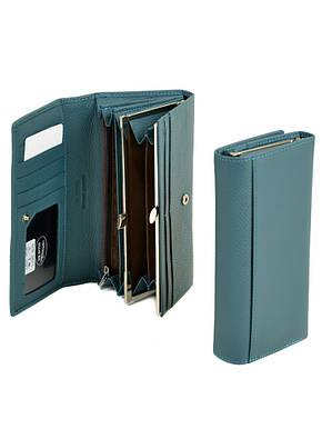 Зручний шкіряний гаманець з натуральної шкіри жіночий блакитний на кнопці DR. BOND 18,5*9,5*3,5 (W1-V light-blue), фото 2