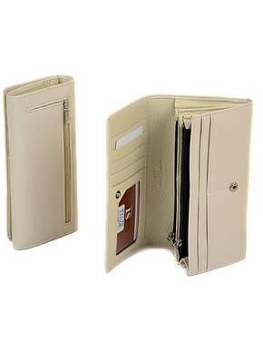 Стильный классический бежевый кошелёк-клатч женский на кнопке кожзам Sergio Torretti 18,5*9*3,5 (W501 beige), фото 2