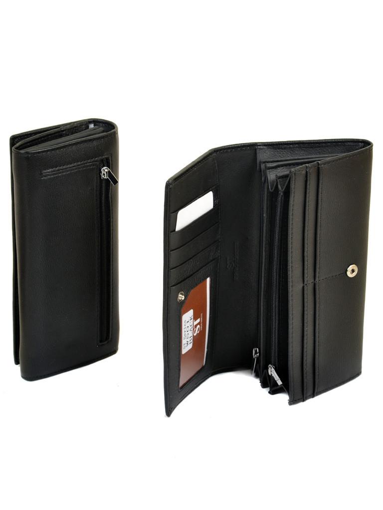 Классический черный женский кошелёк-клатч на кнопке искусственная кожа Sergio Torretti 18,5*9*3,5 (W501 black)