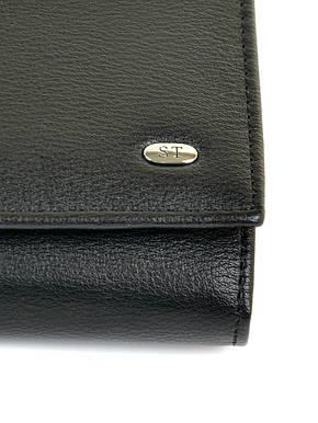 Классический черный женский кошелёк-клатч на кнопке искусственная кожа Sergio Torretti 18,5*9*3,5 (W501 black), фото 2