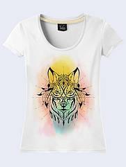 Женская футболка Цветной волк