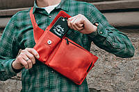 Красная кожаная бананка, Поясная сумка, Нагрудная бандитка, фото 1