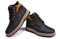 Зимние мужские ботинки черные из натуральной кожи на меху в стиле Walker New Seazone  40 41 42 43 44 45 45