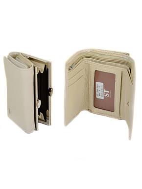 Элегантный бежевый женский кошелек на кнопке искусственная кожа Sergio Torretti 12*8*3 (W11 beige), фото 2