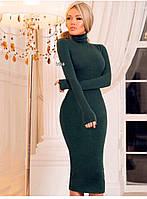 Силуэтное ангоровое платье, рукав перчатка