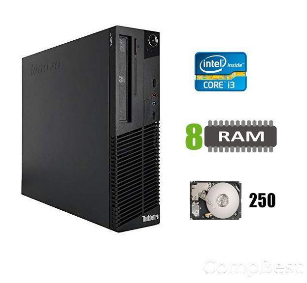 Lenovo m82 Desktop / Intel Core i3-2120 (2(4)ядра по 3.30GHz) / 8 GB DDR3 / 250 GB HDD / DVD-ROM / USB 3.0 / SATA 3, 8, 250 HDD