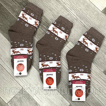 Шкарпетки жіночі махрові х/б Смалій, 23-25 розмір, малюнок 73 - Норвезька візерунок, св.-коричневі