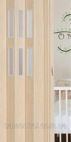 Раздвижная дверь гармошка со стеклом Pioneer