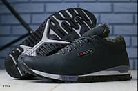 Зимние мужские ботинки Черные из натуральной кожи на меху в стиле Ecco 40 41 42 43 44 45
