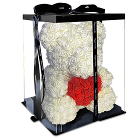 Мишка из 3d роз Happy Teddy 40 см белый с сердцем в подарочной коробке