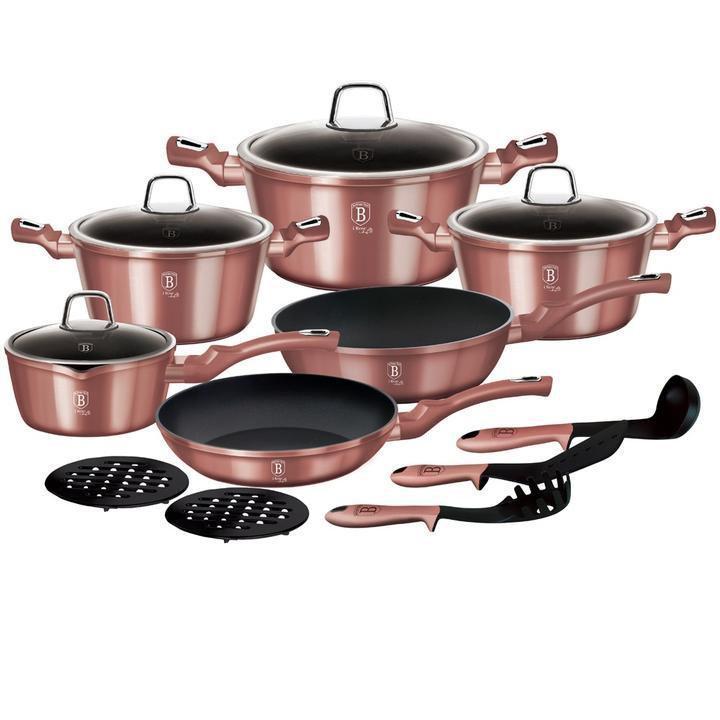 Набор кухонной посуды из 15 предметов Berlinger Haus I-Rose Edition BH-6045 с антипригарным покрытием