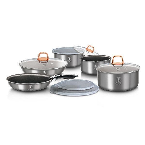 Кованый алюминиевый набор посуды из 12 предметов Berlinger Haus Moonlight Edition BH-6102