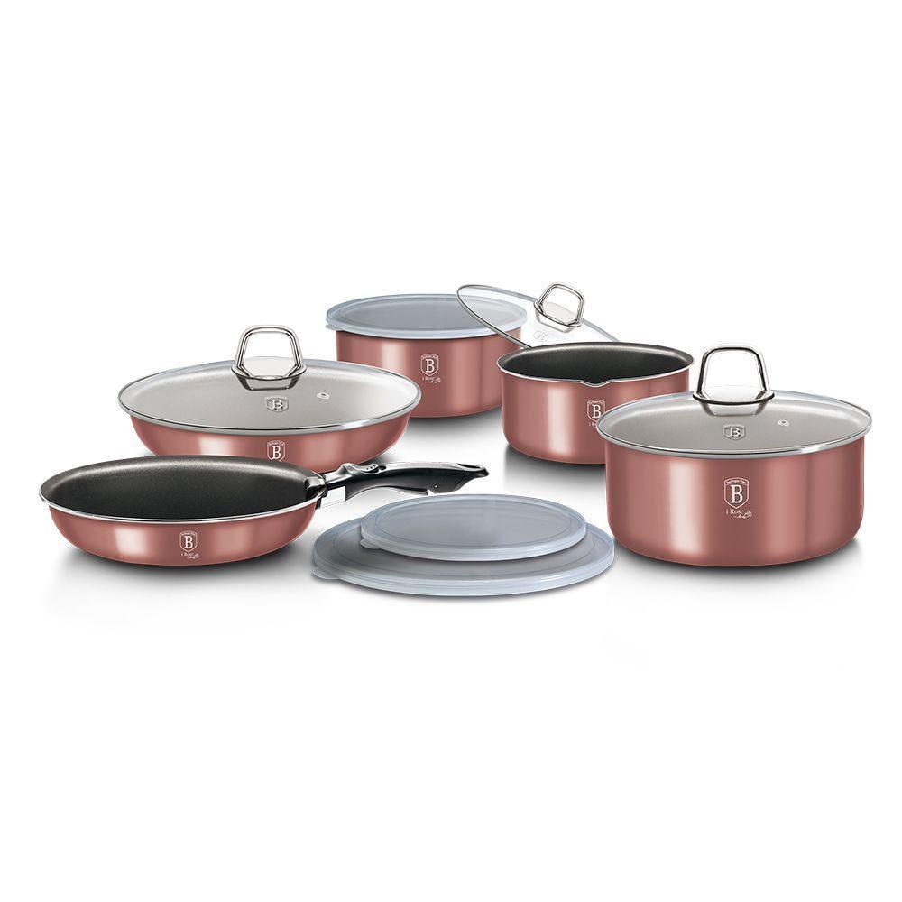 Набор кухонной посуды 12 предметов Berlinger Haus I-Rose Edition BH-6104 с антипригарным покрытием