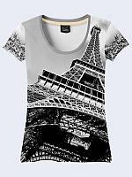 Женская футболка Черно-белый Париж