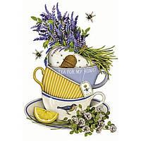 """Декупаж на полотні """"Квіти """"Чай для коханої"""" 25*20см //"""