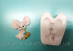 Молд Мишка з десертом, миша новорічний, 2020, символ року