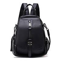 Рюкзак сумка (трансформер) женский городской кожаный. Рюкзак из натуральной кожи (черный)
