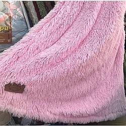 Плюшевый плед травка, розовый, евро размер (220х240)
