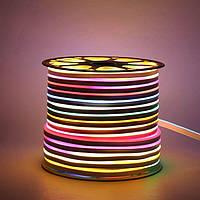 Светодиодный LED гибкий неон PROLUM 5050\60 IP68 24V RGB FULL COLOR IC1903 , RGB, фото 1