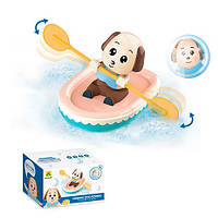 Водоплавающая игрушка HG-594 (48шт) собачка в лодке, 16,5см, заводная, в кор-ке, 21-12,5-12,5см