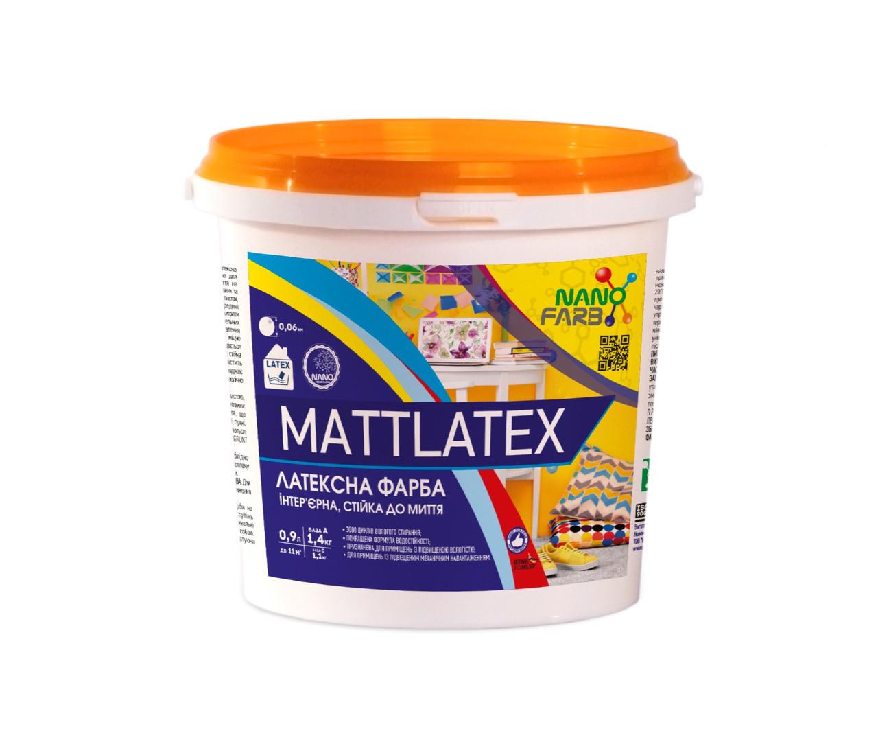 Интерьерная акриловая латексная краска моющая Mattlatex Nano farb 1.4 кг