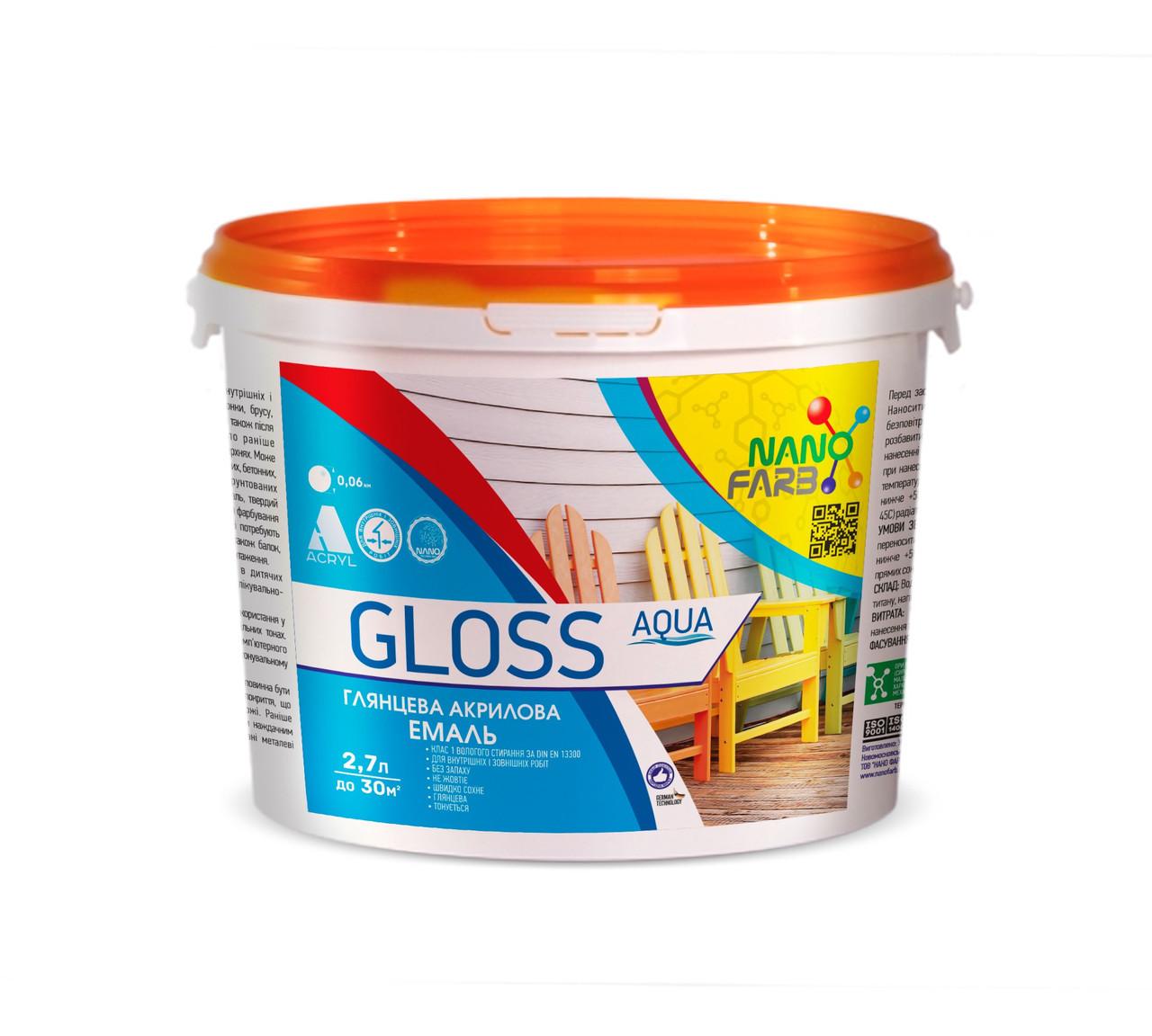 Эмаль универсальная Gloss Aqua Nano farb 2.7 л