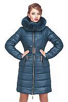 Модная зимняя куртка с двойной песцовой опушкой