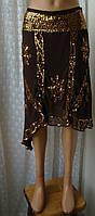Юбка женская нарядная вечерняя шелк вышивка пайетки бренд Warehouse р.46