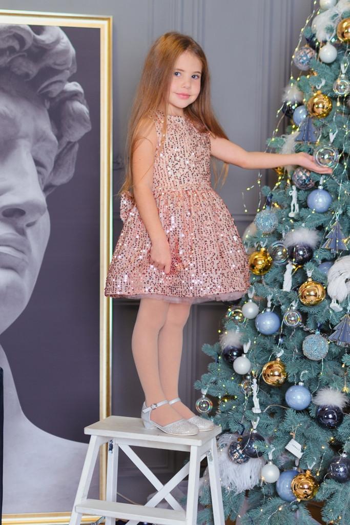 Сверкающее платье с подъюбником  для девочек