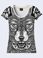 Женская футболка Wolf doodle