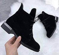 Vzuta! зимние черные замшевые женские полу ботинки на шнуровке со змейкой квадратный каблук