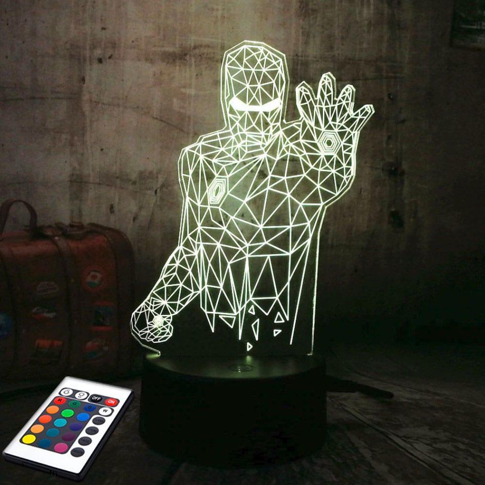 3D светильник с пультом и аккумулятором 3D Lamp Железный человек (LP-2920)