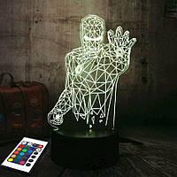 3D светильник с пультом и аккумулятором 3D Lamp Железный человек (LP-2920), фото 1